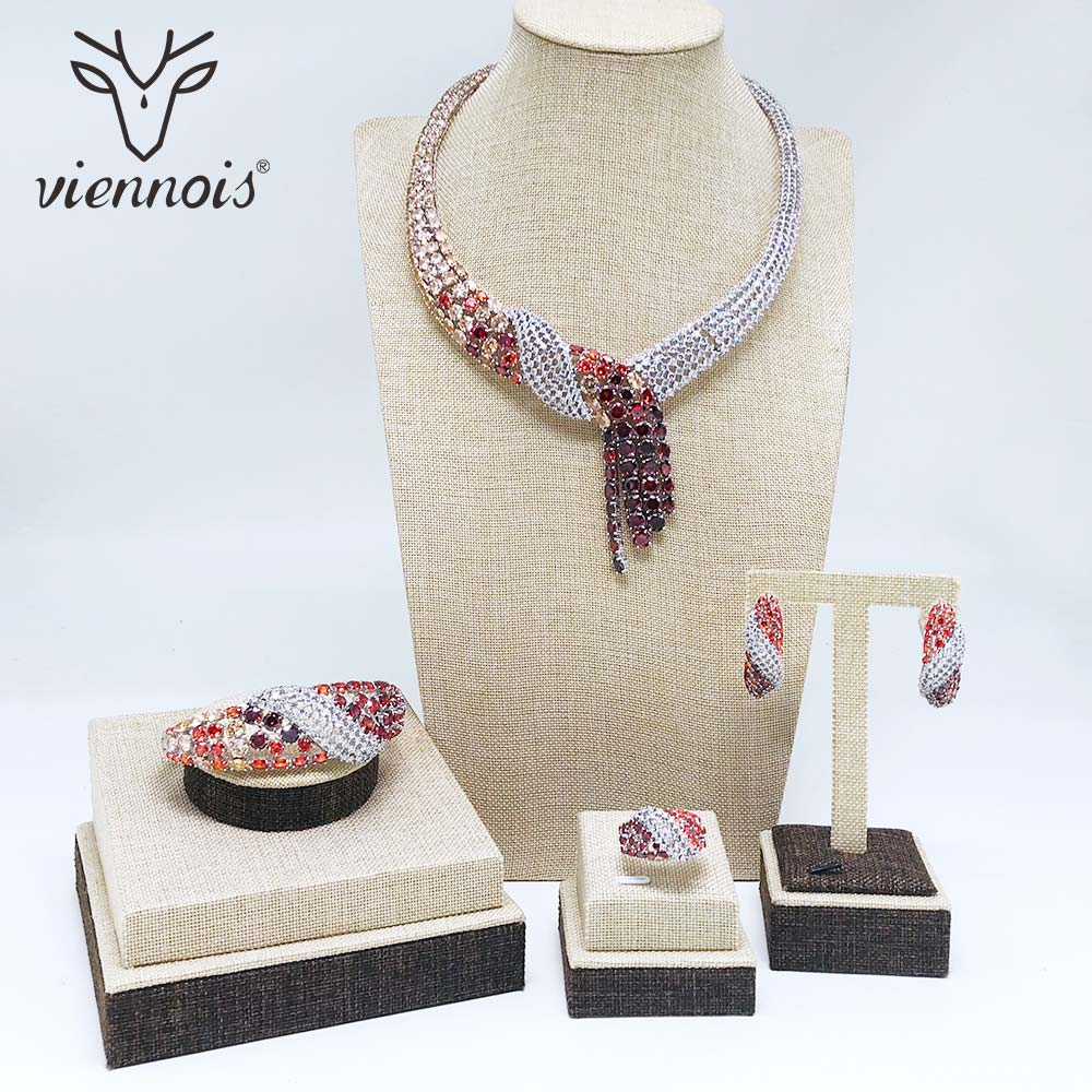 Viennois Red Silver Color Necklace Set For Women Cubic Zirconia Dangle Earrings Size 7 Ring Bracelet