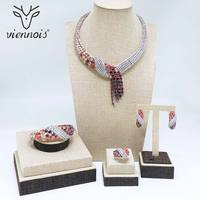 Viennois Red & Silver Color Necklace Set For Women Cubic Zirconia Dangle Earrings Size 7 Ring Bracelet Set Wedding Jewelry Set