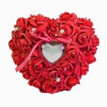 Обручальное кольцо в форме сердца Подушка горный хрусталь жемчуг Декоративная Свадебная церемония карман Подушечка для обручальных колец Подарочная коробка для Святого Валентина