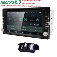 Free Camera 2Din Android6.0 Car DVD GPS Universal Stereo Radio Player 6.2''Quadcore 16GB Touch double 2din With WIFI SWC DVR CAM