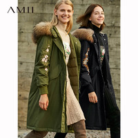 Amii Vintage Women Long Down Coat Winter 2018 Casual Floral Embroidery Fur Collar Warm Thick Light 90% White Duck Down Jackes