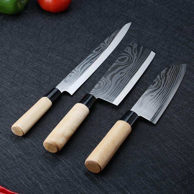Laser Damascus Chef Knives Japanese Salmon Sushi Knives Stainless Steel Sashimi Kitchen Knife Raw Fish Fillet Layers Cooki Knife