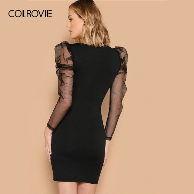 COLROVIE Black Mesh Gigot Long Sleeve Sheer Bodycon Elegant Dress Women 2019 Spring Slim Fit Mini Party Office Ladies Dresses 1