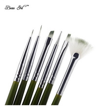 Beau Gel  6Pcs Nail Brush Nail Art Design Painting Dotting Tool Pen Crystal Nail Polish Brush Set DIY Kit