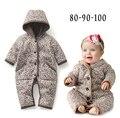 2016 Nova floral bebe outerwear romper meninas do bebê inverno quente hoodies roupas de algodão acolchoado Recém-Nascido Macacão de uma peça Infantil