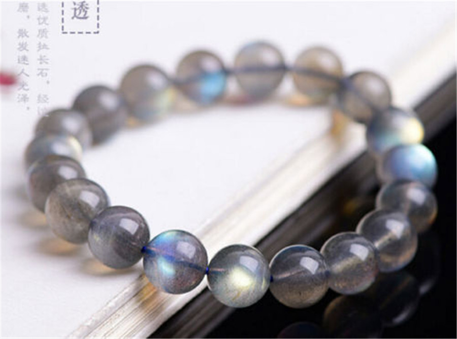 Wholesale 10mm Genuine Natural Labradorite Gems Stone Healing Crystal Quartz Stretch Charm Round Beads Bracelet
