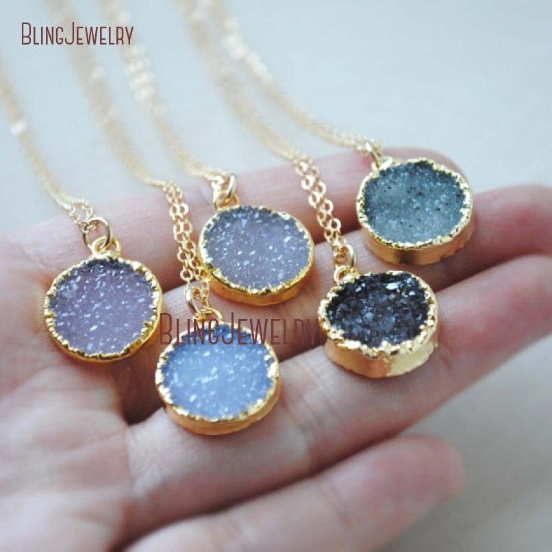 Ожерелье из натуральной друзы, золотое ожерелье друзы, маленькое ожерелье друзы, Золотое ювелирное изделие, случайный цвет NM23891