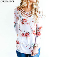 OUFANCI 2017 Autumn Winter T Shirt Women Long Sleeve O Neck Bandage Floral Print Tops Loose