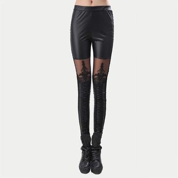 Black Legins Punk Gothic Fashion Women Leggings Sexy PU Leather Stitching Embroidery Hollow Lace Legging For Women Leggins 2