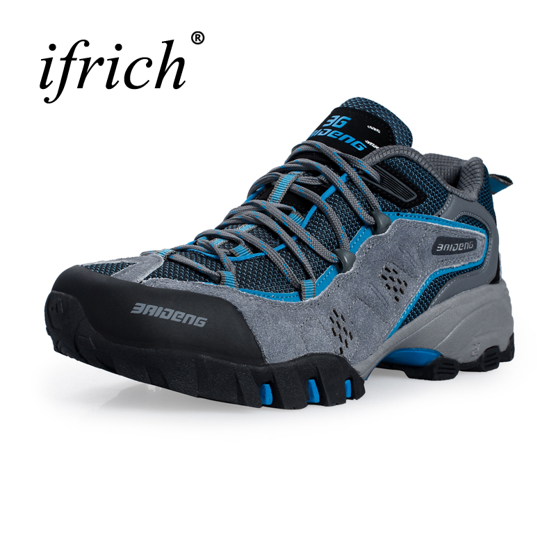 Hot Hiking Boots Men Outdoor Spring/Summer Leather Hiking Shoes Big Size Trekking Boots Breathable Mountain Climbing Shoes big size 46 men s winter sneakers plush ankle boots outdoor high top cotton boots hiking shoes men non slip work mountain shoes