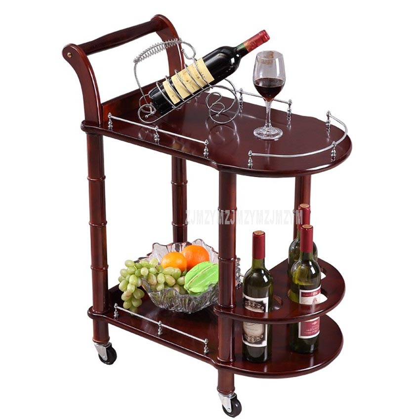 86cm Hotel Dining Cart With Wheels Double Layer Wood Table Wine Cart