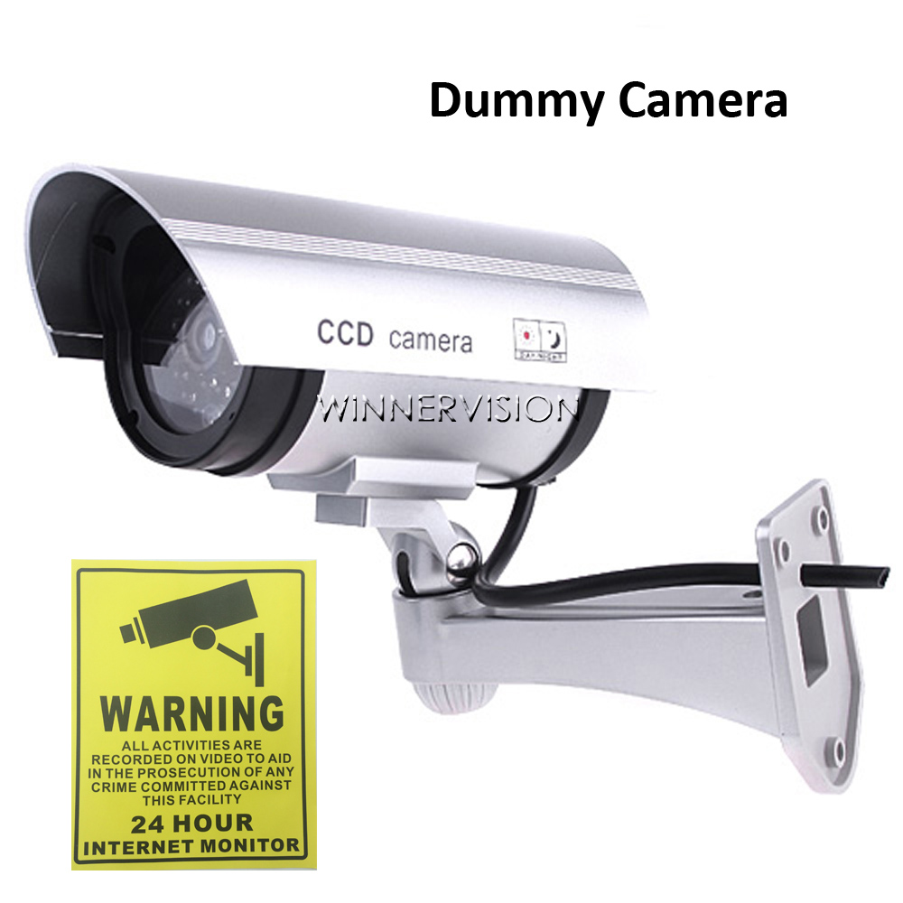 Fake Camera Dummy Emulational Camera CCTV Camera Bullet Waterproof Outdoor with Flash LED Light for Home Security image