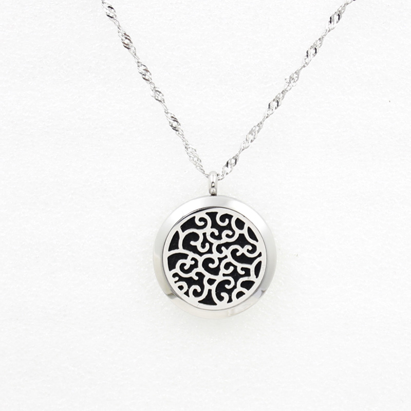 30mm Magnetic Stainless Steel Aromatherapy Essential Oil Diffuser perfume locket necklace pendant Free Felt Pad SMG701