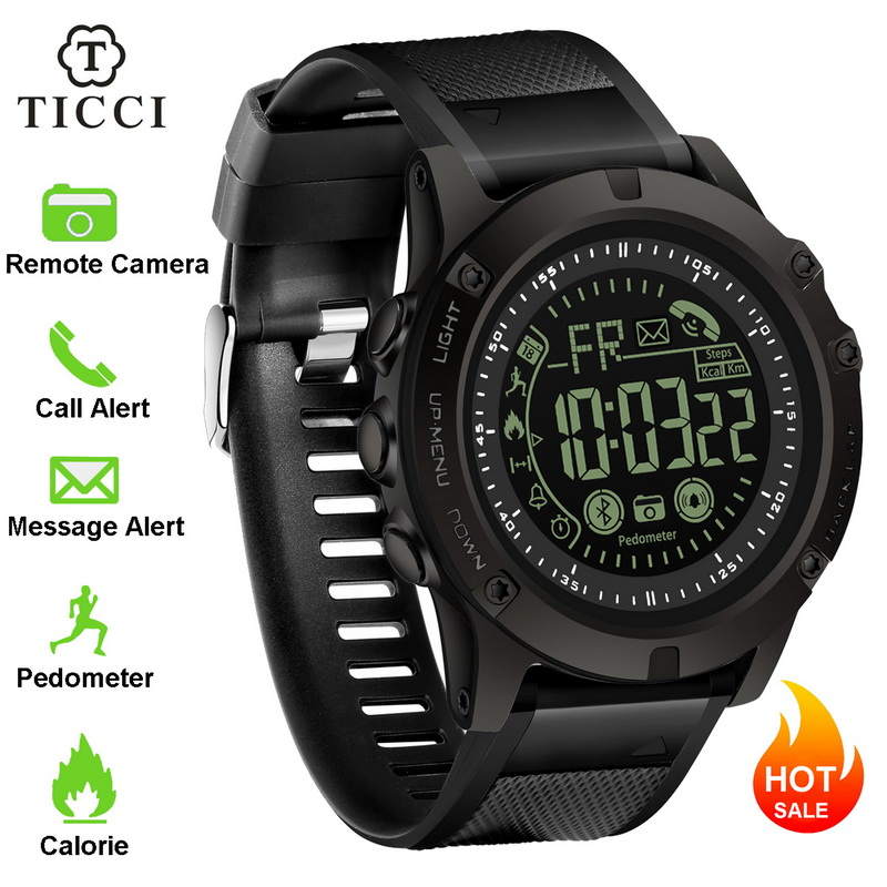 TICCI Smart Watch Pedometer Smartwatch Bluetooth Sports Fitness Tracker Electronic Digital Wrist Watch 50 Meters Waterproof