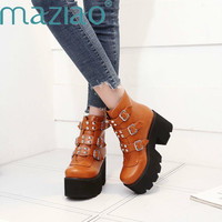 Motorcycle Boots for Women Platforms Block High Heel Punk Shoes Gothic Rivet Buckle Ankle Military Boots Big Size 33 46 MAZIAO