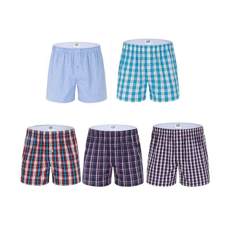 Leisure Plaid Home Pattern Cotton Boxers Woven Comfort Men Boxer Breathable Underwear European/American size