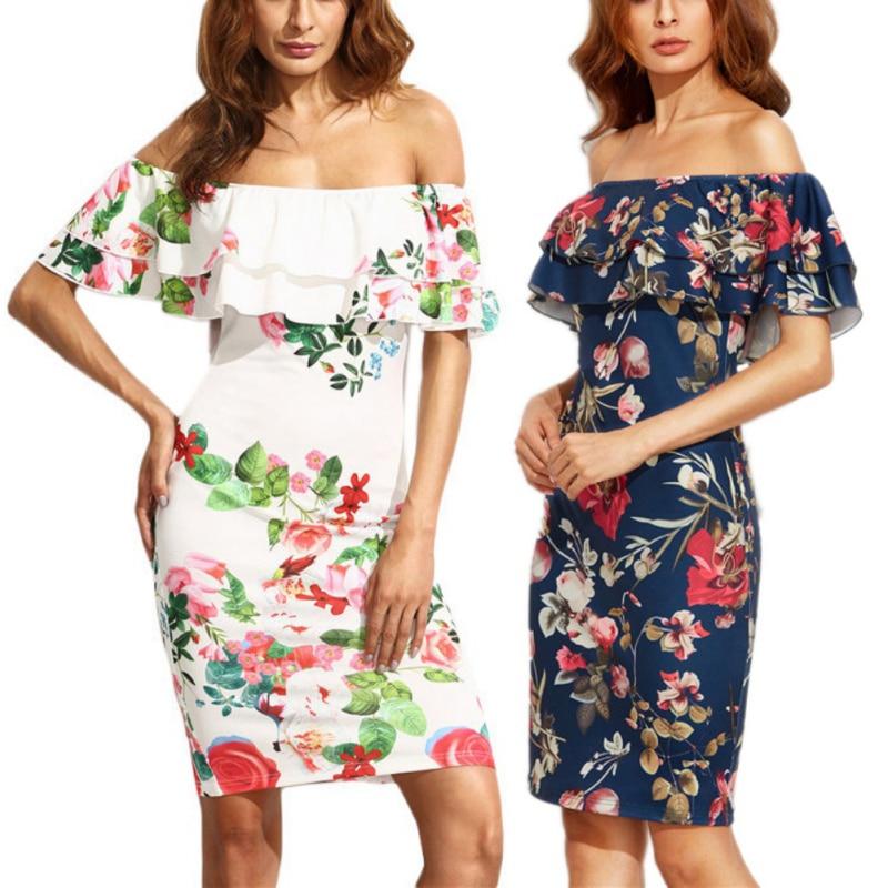 85fc0acba901 EFINNY Women Floral Cotton Midi Dresses Knee Length Ladies Ruffled ...