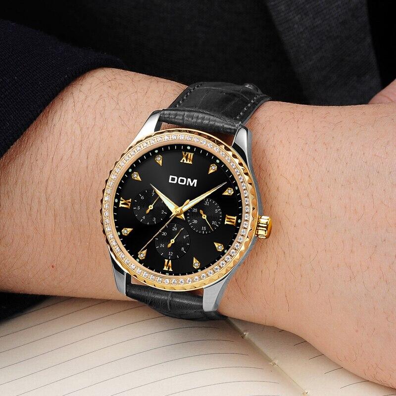 DOM Męskie Zegarki Top Marka Luksusowe Wodoodporny Złoty Zegarek - Męskie zegarki - Zdjęcie 3