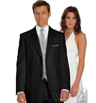 Hot Sales Black Business Men Suits Custom Made, Bespoke Classic Black Wedding Suits For Men, Tailor Made Groom Tuxedos For Men