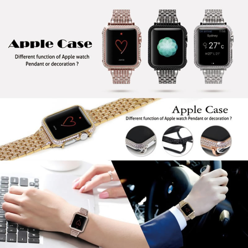For Apple watch case Protective Shell Hand Made by Crystal Diamond Cover Style (2)