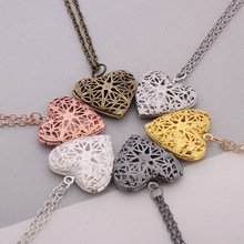 Vintage Heart Box Photo Frame Locket Pendant Necklace Women Men Fashion Hollow Star Flower Love Jewelry Wholesale Gift(China)