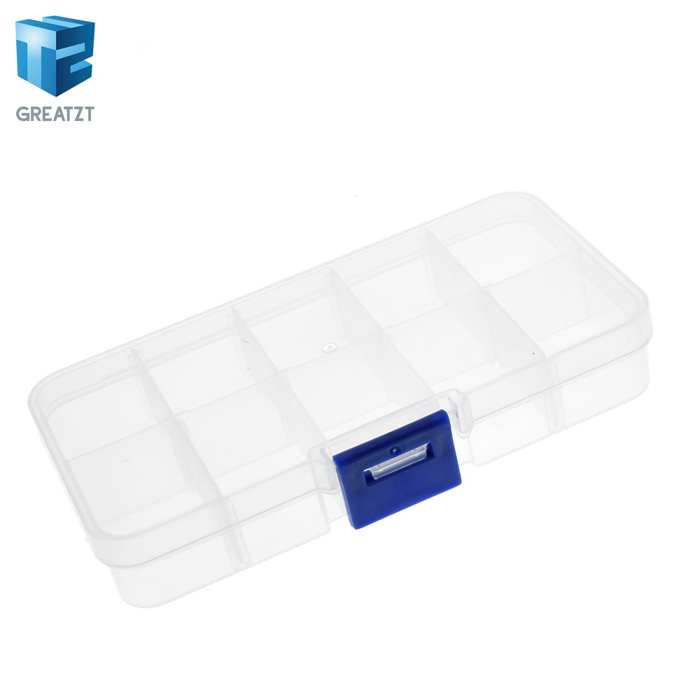 10 Grid canbe remove transparent plastic small box kit storage box jewelry jewelry box electronic components parts finishing box