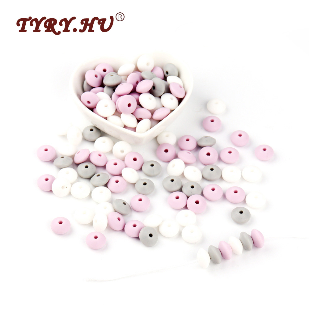 TYRY.HU 12mm Food Grade Silicone Lentil Beads 60Pcs Chewable Baby Teething Abacus Beads BPA Free Baby Nursing Teether Pendant best bpa free food grade diy silicone baby chew beads teething necklace nursing jewelry chewable teether for mom mun to wear