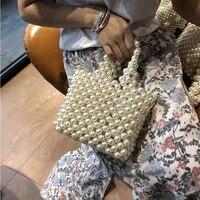 Women Beaded Bags Handmade Women's Pearls handbags evening totes Design Clutch Purse Brand Women Bags For 2018