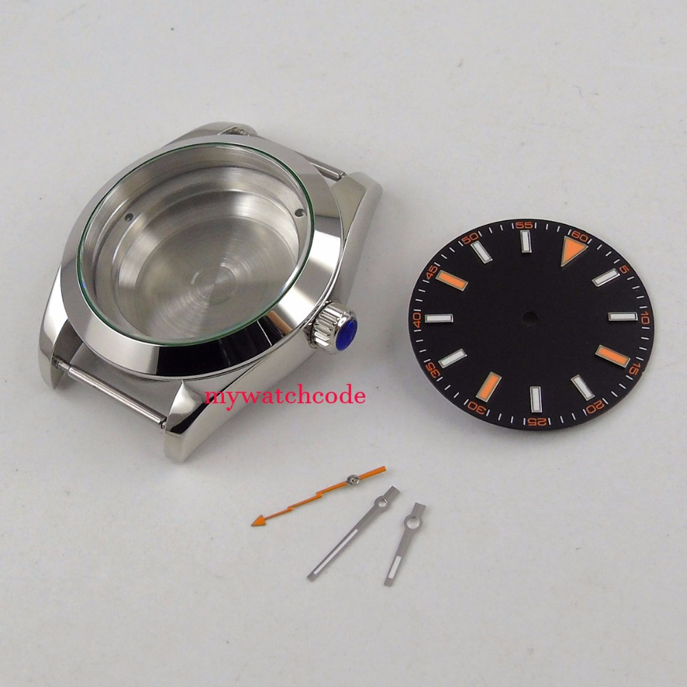 40mm parnis sapphire glass mens watch case set fit 8215 821A 2813 movement40mm parnis sapphire glass mens watch case set fit 8215 821A 2813 movement