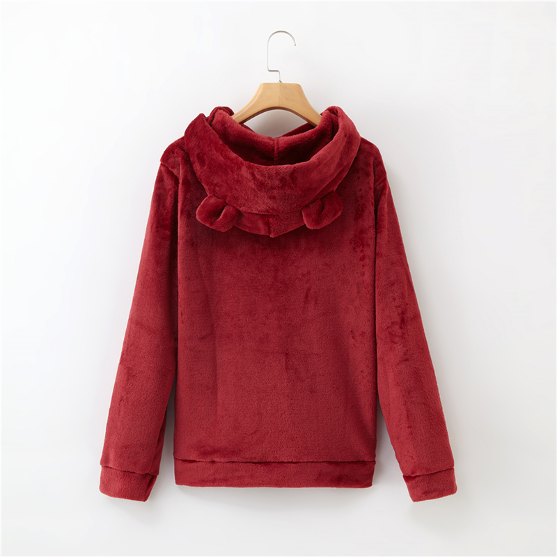 Women's Flannel Hoodies Sweatshirts Lovely With Bears Ears Solid Warm Hoodie Autumn Winter Casual Campus Pullovers Coat 17