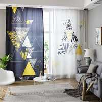 Customized Nordic Style Curtain Finished Modern Blackout Curtain for Living Room Simple Creative Abstract Bedroom Window Curtain