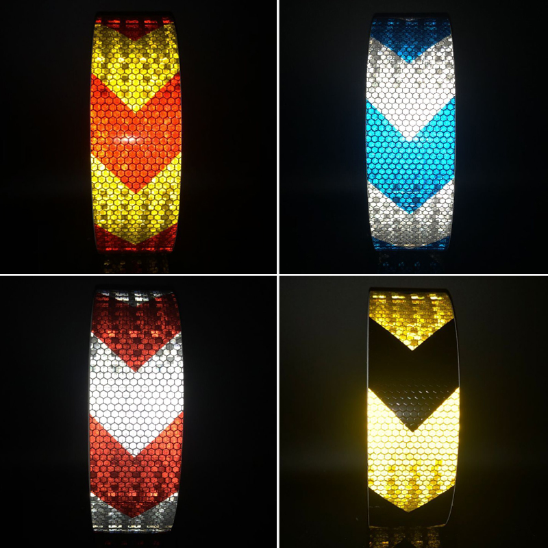 50mmx50m  Shining Reflective Warning Self-adhesive Stikcer With Color Arrow Printing For Car