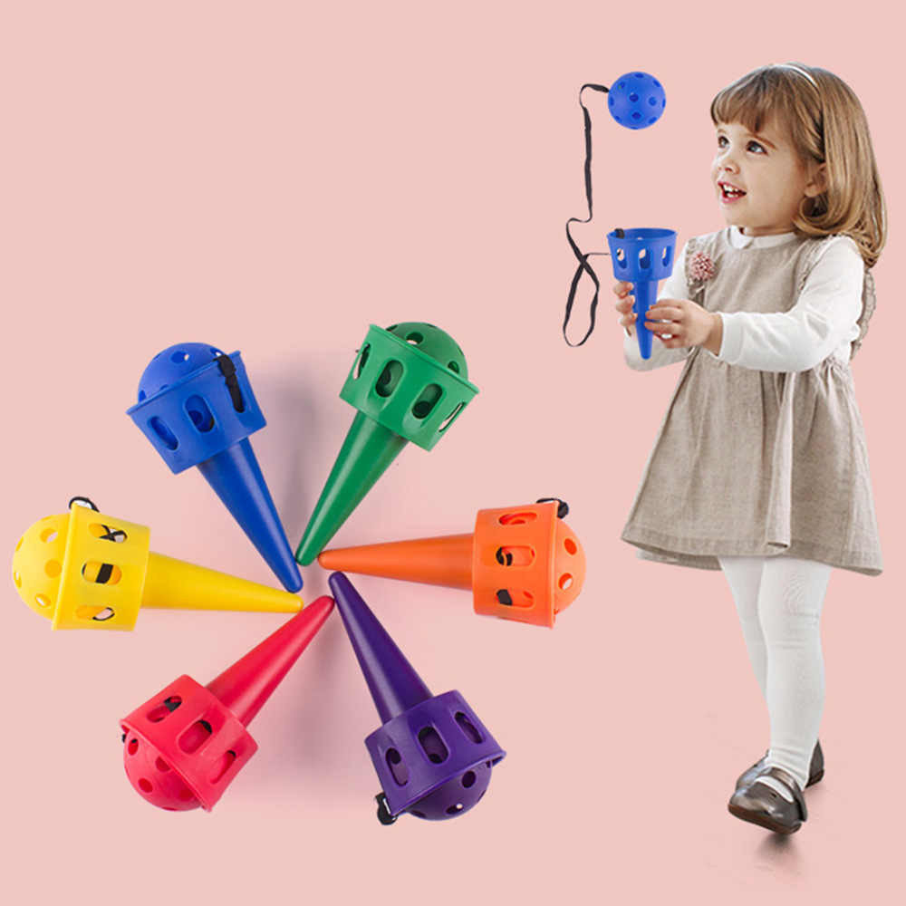 Fun Ball and Cup Toy Set for Children Outdoor Throw and Catch Ball Game Toy Softball for Beginner Kids Motor Skills Toy