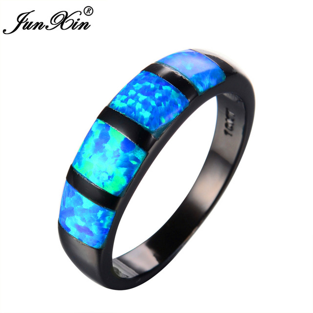 Junxin Round Blue Fire Opal Ring Black Gold Filled Vintage