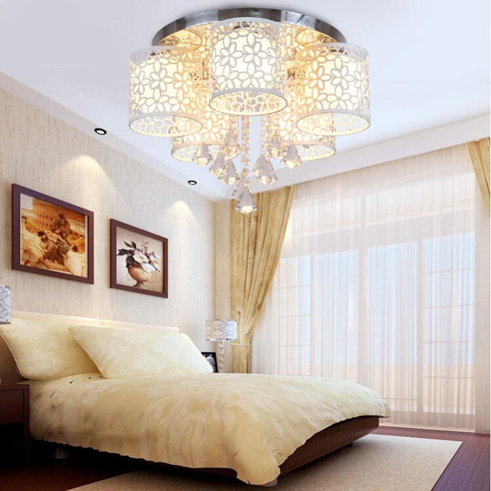 Led Modern Crystal Ceiling Lamp E27 Bedroom Child Lighting Ceiling Light Fixtures 110V-220V Flush Mount Ceiling Lights