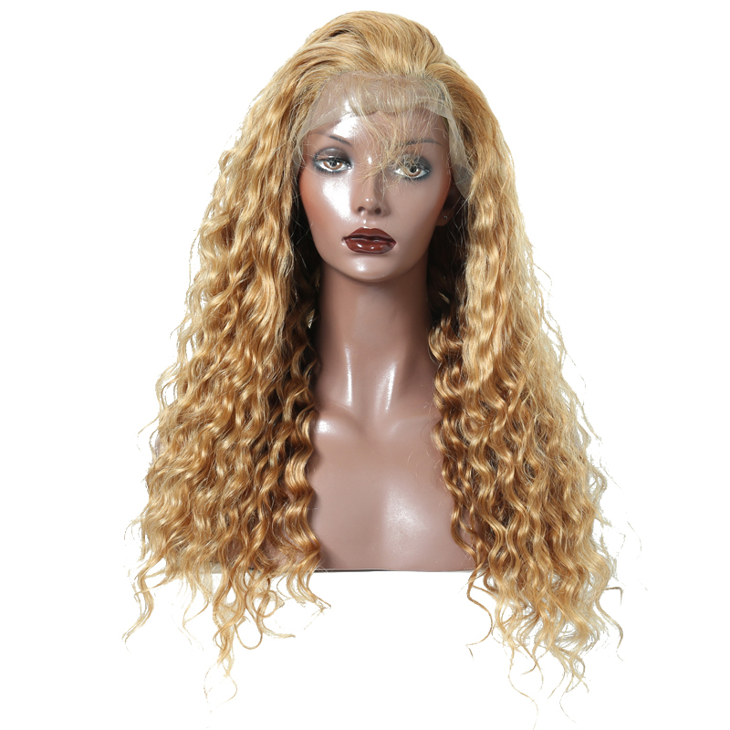 Colorful 250 High Density Lace Front Human Hair Wigs #27 Deep Wave Brazilian Remy Wig Wi ...