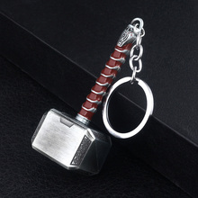 RJ The Avengers 4 Thor Hammer Metal Keychains Dark World Weapon Iron Man Keyring For Women Movie Fans Jewelry Accessories