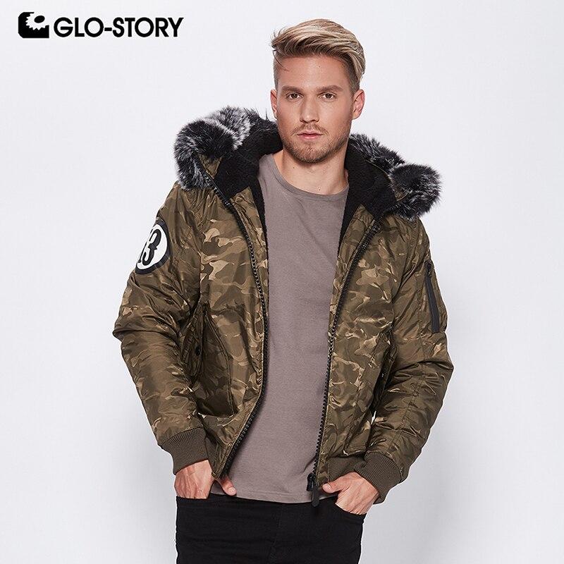 GLO STORY 패션 2018 남성 위장 겨울 자 켓 가짜 모피 후드 두꺼운 겨울 코트 남성 MMA 6866-에서재킷부터 남성 의류 의  그룹 1