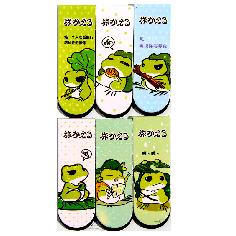 6pcs/set Double Faced Pattern Catoon Traveling Frog  Bookmark Book Bookmarks For Book Metal Bookmark Bookmarks Creative Supplies