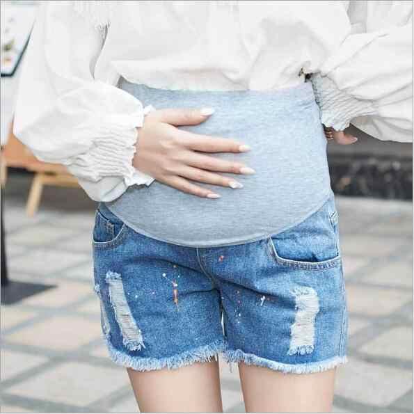 Fdfklak M-4XL Plus rozmiar letnie nowe spodenki jeansy ciążowe krótki opieki brzuch moda Denim dla kobiet w ciąży do spodni Lady spodnie F322