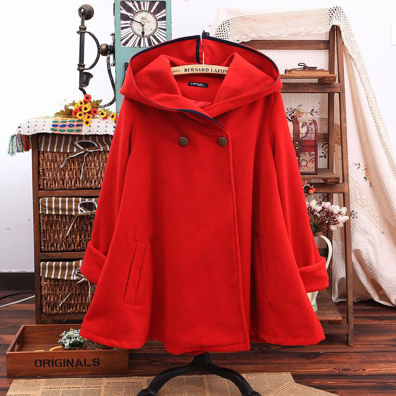 Новая Осенняя Женская куртка-плащ, зимняя женская хлопковая шерстяная куртка с капюшоном, повседневное шерстяное пальто с длинным рукавом - Цвет: Красный
