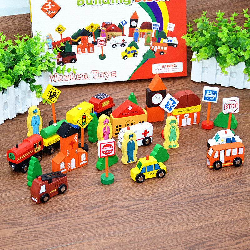 Children wooden special Educational City Traffic Building Blocks toys, Wood toy traffic scene building blocks Kids Classic toys
