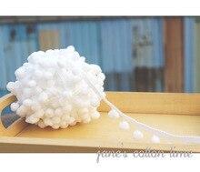 Free shipping pompom trim white 1cm ball diameter 2cm wide 15yards/lot*2lot pompom laciness Handmade materials accesory