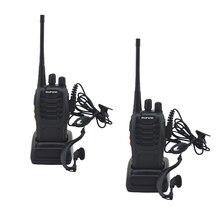 2 개/몫 BF 888S baofeng 워키 토키 888s UHF 400 470MHz 16 채널 휴대용 양방향 라디오 이어폰 bf888s 송수신기