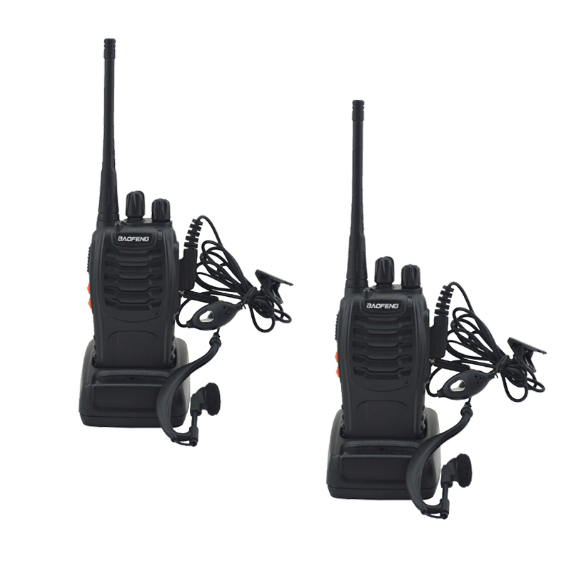 2 unids/lote BF-888S baofeng walkie talkie 888 s UHF 400-470 MHz 16 canal portátil radio de dos vías con auricular bf888s transceptor