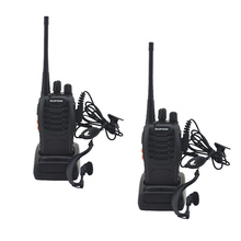 2pcs/lot BF 888S baofeng walkie talkie 888s UHF 400 470MHz 16Channel Portable two way radio with earpiece bf888s transceiver
