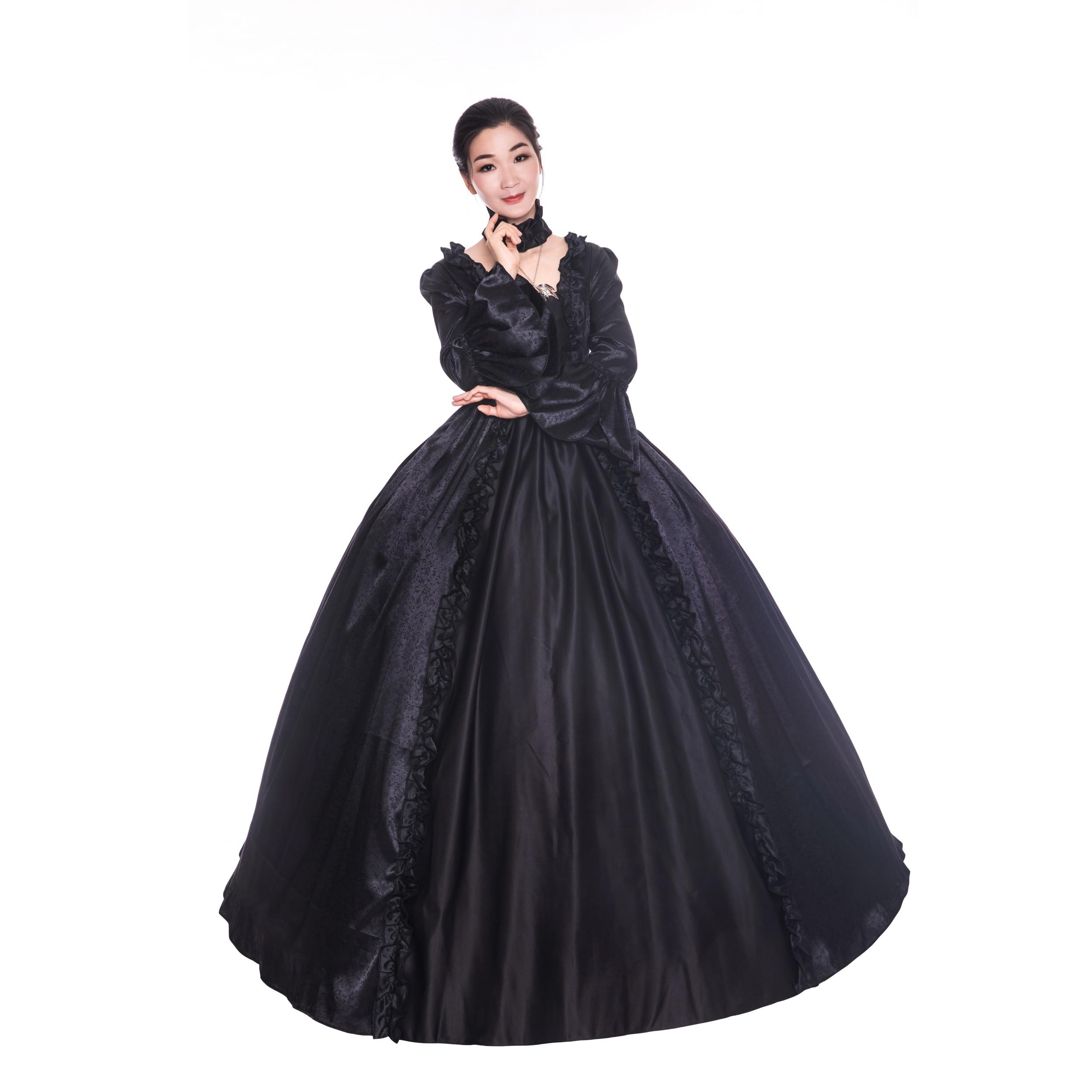 Renaissance Gothic Dark Queen Ball Gown Dress Theater Steampunk Cosplay Punk 119