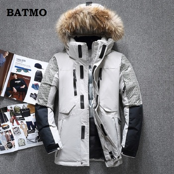 Batmo 2018 new arrival winter high quality white duck down Raccoon fur collar hooded jackets men,men's warm coat 1798