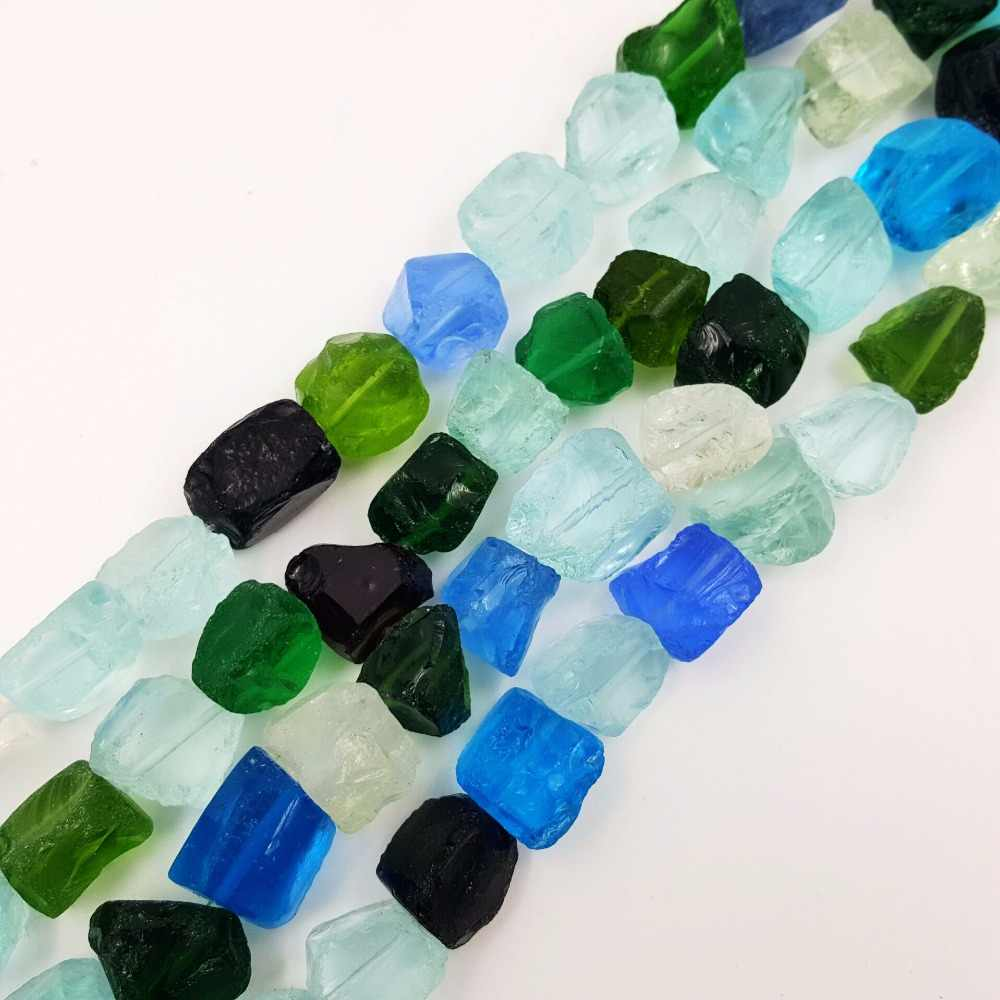 Stock Sale Natural Mutil Color Crystal glass Sea glass Freeform Nugget Shape  Approx 15-18mm Loose Beads for DIY Jewelry 38cm