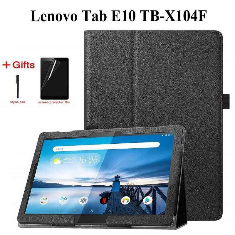 Folding Folio PU Leather Case for Lenovo Tab E10 TB-X104F New Release Tablet Stand Cover for Lenovo E10 10.1 inch case+film+pen